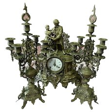 19th C Stunning French style triptych table/mantle Gilt Bronze Figural Clock with two candelabras