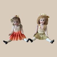 Amazing pair mignonette Canneto/Furga Italian Antique Doll size 2 in Very Good Condition