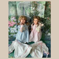 2 Dress & Pair Doll Character Celluloid Kammer & Reinhardt 728/7 48/46 & 2 Rabbit