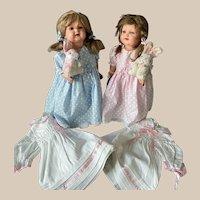 2 Dress & Pair Doll Character Celluloid Kammer & Reinhardt 728/7 48/46 & 2 Rabbit