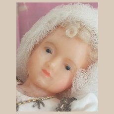 Beautiful  wax Maria child old religious work
