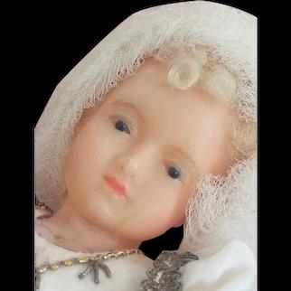 Beautiful  wax Maria child old religious work