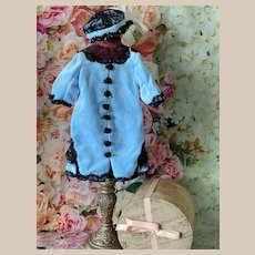 "Lovely Velvet Dress and Hat for Antique Doll 16""-18"""