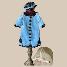 """Lovely Velvet Dress and Hat for Antique Doll 16""""-18"""""""
