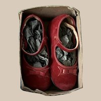 """Extra Sale! Lovely red suede shoes for Antique Vintage Doll 5"""", first half 1900s, model Mary Jane"""