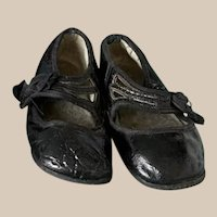 """Extra Sale! Lovely shiny black shoes for Antique Vintage Doll 5"""", first half 1900s, model Mary Jane"""