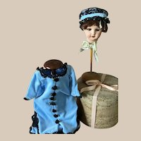 "Extra Sale! Lovely Velvet Dress and Hat for Antique Doll 16""-18"""