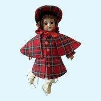 Sweet Bleuette doll mold 8/0 1928/1929 skater in tartan coat