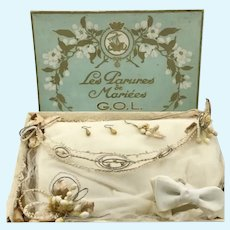 GOL Paris old wax wedding ornament parure complete set adeptable for antique doll
