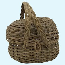 Exquisite Antique Miniature French Fashion Doll wicker Basket green color