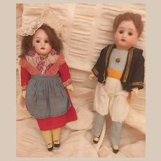 "!PROMOTION! Antique ""7 Recknagel all original pair dolls"