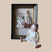 """Old French  painting """"La Mode Illustrée à Paris"""" with Victorian fabrics and antique print"""