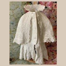Romantic Sangallo lace coat for large Ancient Doll, Jumeau, Bru, Steiner