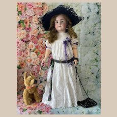Antique dress and hat for large Ancient Doll, Jumeau, Bru, Steiner