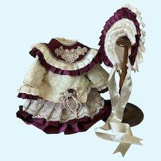 Romantic Dress Hat for French Bebe Jumeau Steiner Eden antique doll
