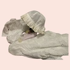 Antique dress and cap for big antique doll, Jumeau, Bru, Steiner