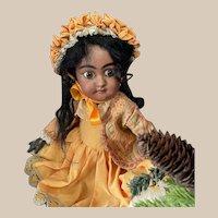 "Sweet  Black Simon Halbig DEP 1039 6 1/2 Cabinet Size 16"" Antique German Doll"