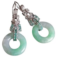 GIA Platinum Jade Donut Diamond Emerald Earrings Art Deco Style