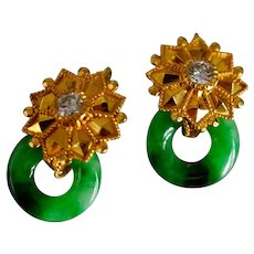 Type A Jade Donut Diamond Dormeuse Earrings, 22K, Vintage