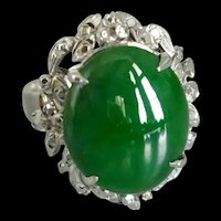 Dark Green Jade 18K and Palladium Ring Vintage Chinese