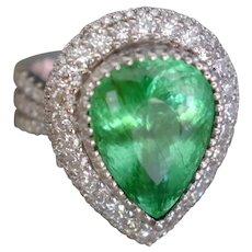 GIA 7ct Pear Cut Paraiba Tourmaline Diamond Ring 18k