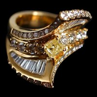 Statement Yellow Diamond Cocktail Ring 18k Gold