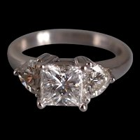 GIA 2ct Three Stone Princess Cut Heart Cut Diamond Ring