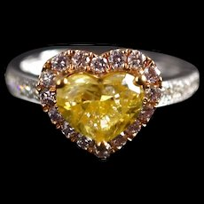 1.5ct Fancy Yellow Heart Cut Diamond Ring With Pink Diamonds 18k