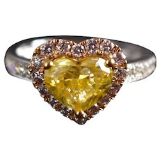 1.5ct Fancy Yellow Heart Cut Diamond Ring With Pink Diamonds 18k
