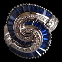 Blue Sapphire Diamond Tourbillon Cocktail Ring 18k White Gold
