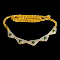 Vintage Emerald Diamond Necklace , 18k Gold