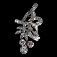 Vintage Art Nouveau Diamond Pendant 18k White Gold