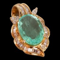 Mid-century Old Cut Emerald Diamond Pendant 18K Gold