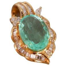 Mid-century Old Cut Emerald Diamond Pendant 18K Gold