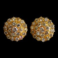 3ctw Antique Diamond Stud Earrings 20k Gold, Conch
