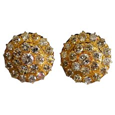 3ctw Antique Diamond Stud Earrings 20k Gold, Conch