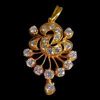 Mid-Century Straits  Chinese Art Nouveau Diamond Pendant 18k Gold