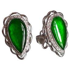 Bright Translucent Jade Diamond Teardrop Earrings 18k White Gold