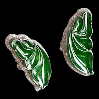 Natural Carved Jade Butterfly Leaf Earrings 18k Art Nouveau Style