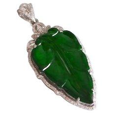 Dark Green Jade Leaf Pendant 18k
