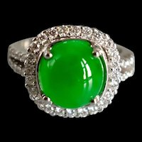 GIA Round Translucent Apple Green Jade Halo Diamond Ring 18k