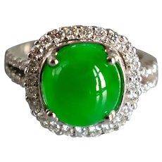 GIA Round Translucent Apple Green Jade Halo Diamond Ring 18k