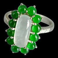 White Green All Jade Halo Ring 18k