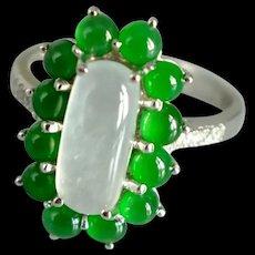 White Green All Jade Halo Ring 18k