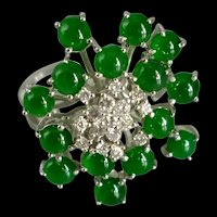 Translucent Dark Green Jade Starburst Cluster Ring 18k