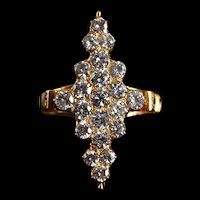 Mid-century Victorian Style Diamond Cluster Navette Ring 20k