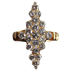 Mid-century Victorian Style Diamond Cluster Navette Ring 20k