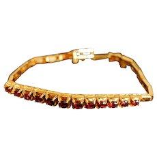 Vintage Mid-century Garnet Link Bracelet 18k Gold