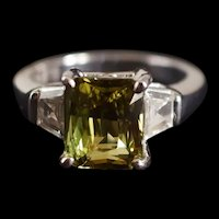 3.25ct Alexandrite Art Deco Style Diamond Platinum Ring