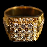 Vintage Brutalist Men's Diamond Ring 20k Gold